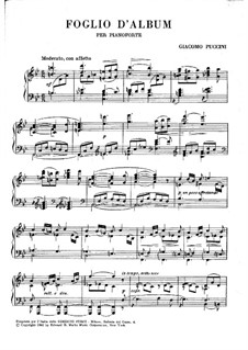 Foglio d'Album (Album Leaf): Foglio d'Album (Album Leaf) by Giacomo Puccini