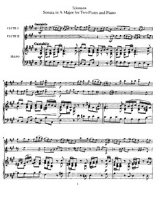 Sonata for Two Flutes and Piano in A Major: todas as partes e partituras by Georg Philipp Telemann
