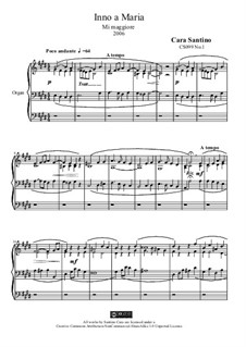 Hymn in e major for organ to Mary, CS099 No.1: Hymn in e major for organ to Mary by Santino Cara