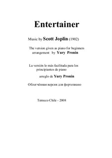 The Entertainer, for Piano: Version given as piano for beginners by Scott Joplin