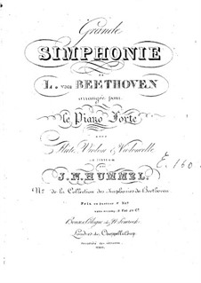 Complete Symphony: Version for piano with flute, violin and cello – parts by Ludwig van Beethoven