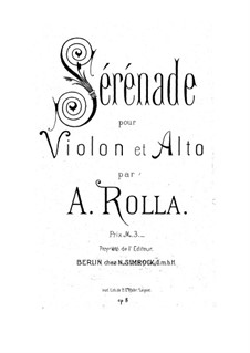 Serenade for Violin and Viola, BI 68 Op.8: Serenade for Violin and Viola by Alessandro Rolla