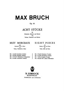 Eight Pieces, Op.83: Partitura completa, Partes by Max Bruch
