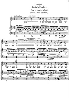 Dors, mon enfant (Sleep, My Child), WWV 53: Partitura piano-vocal by Richard Wagner