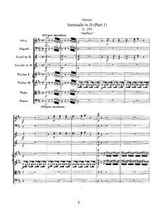 Serenade for Orchestra No.7 in D Major 'Haffner', K.250: movimento I by Wolfgang Amadeus Mozart