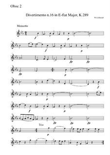 Divertissement in E Flat Major, K.289: Movement II – oboe II part by Wolfgang Amadeus Mozart