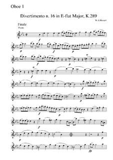 Divertissement in E Flat Major, K.289: Movement IV – oboe I part by Wolfgang Amadeus Mozart