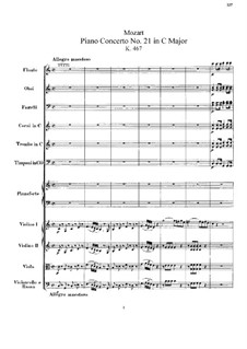 Concerto for Piano and Orchestra No.21 in C Major, K.467: Partitura completa by Wolfgang Amadeus Mozart