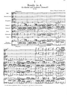 Rondo for Piano and Orchestra in A Major, K.386: Rondo for Piano and Orchestra in A Major by Wolfgang Amadeus Mozart