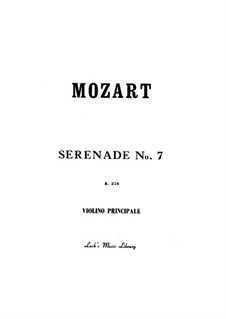 Serenade for Orchestra No.7 in D Major 'Haffner', K.250: Parte de solo by Wolfgang Amadeus Mozart