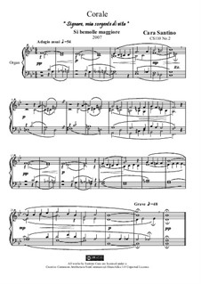 Choral in b-flat major for organ 'Lord, my source of life', CS110 No.2: Choral in b-flat major for organ 'Lord, my source of life' by Santino Cara