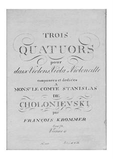Three String Quartets, Op.74: Três Quartetos de Cordas by Franz Krommer