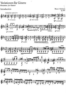 Variations on Romance from 'La Gloire et l'Amour', Op.105: Para Guitarra by Mauro Giuliani