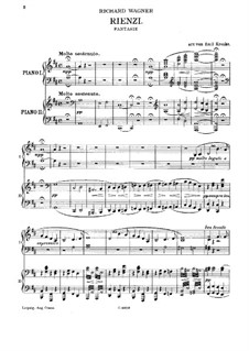 Rienzi, the Last of the Tribunes, WWV 49: Fantasia, for two pianos four hands by Richard Wagner
