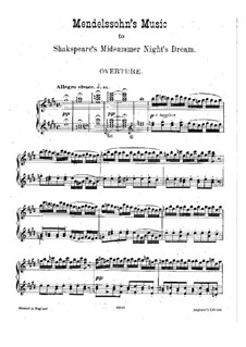 Incidental Music to Shakespeare's Play: Partitura piano by Felix Mendelssohn-Bartholdy