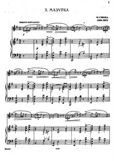 Mazurka for Flute and Piano in E Minor: partitura by Mikhail Glinka