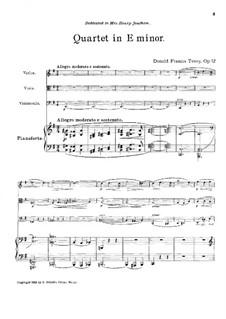 Piano Quartet in E Minor, Op.12: Piano Quartet in E Minor by Donald Francis Tovey
