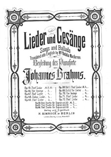 Nine Songs and Ballads, Op.69: set completo by Johannes Brahms