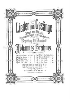 Five Songs, Op.72: set completo by Johannes Brahms