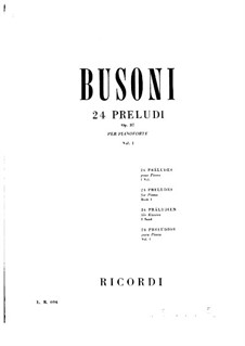 Twenty-Four Preludes for Piano, BV 181 Op.37: Preludes No.1-4 by Ferruccio Busoni