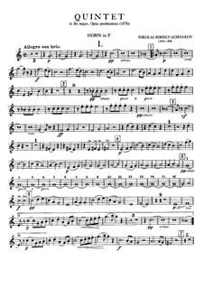 Piano Quintet in B Flat Major: parte trompa by Nikolai Rimsky-Korsakov