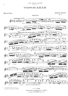 Passacaglia for Flute and Piano, Op.35: Parte de solo by Emmanuel Rhené-Baton
