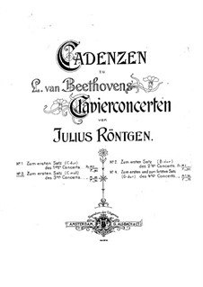 Cadenza to Piano Concerto No.3 by Beethoven: Cadenza to Piano Concerto No.3 by Beethoven by Julius Röntgen
