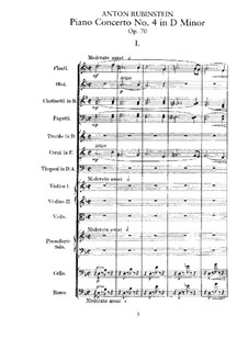 Concerto for Piano and Orchestra No.4 in D Minor, Op.70: Partitura completa by Anton Rubinstein