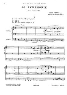Symphony No.5 for Organ, Op.47: Symphony No.5 for Organ by Louis Vierne