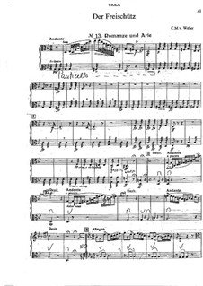 Act III, No.13 Romance and Aria: Violas part (Fragment) by Carl Maria von Weber