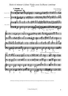 Suite ré mineur à deux Violes avec la Basse continue, Op.14: Partitura completa by Klaus Miehling