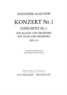 Concerto for Piano and Orchestra No.1 in F Minor, Op.92: Movement I for two pianos four hands by Alexander Glazunov