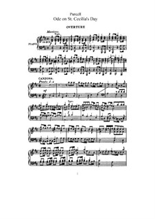 Ode to St. Cecilia, Z.328: Partitura piano-vocal by Henry Purcell