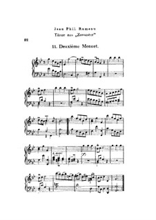Zoroastre, RCT 62: Dances No.11-17, for piano by Jean-Philippe Rameau