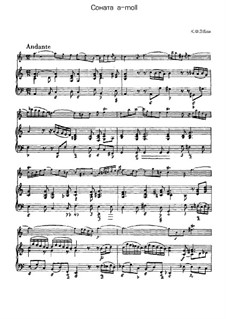 Sonata for Flute and Harpsichord in A Minor, H 555 Wq 128: partitura, parte solo by Carl Philipp Emanuel Bach