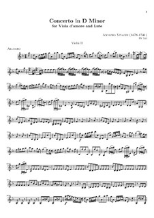 Concerto for Viola d'amore, Lute and Strings in D Minor, RV 540: violino parte II by Antonio Vivaldi