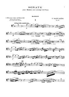 Sonata for Bassoon and Piano in G Major, Op.168: Score, Parte de solo by Camille Saint-Saëns