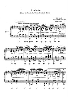 Sonata for Violin No.2 in A Minor, BWV 1003: Andante. Arranjos para piano by Johann Sebastian Bach