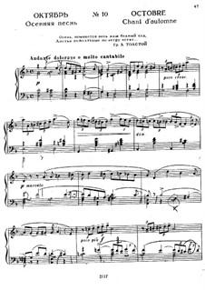 No.10 October (Autumn Song): Para Piano by Pyotr Tchaikovsky