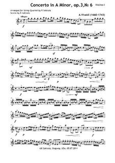 Concerto for Violin and Strings No.6 in A Minor, RV 356: Partes by Antonio Vivaldi