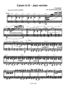 Canon in D Major: Para piano com acordes by Johann Pachelbel