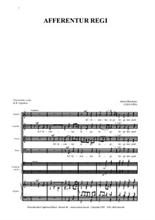 Afferentur Regi, WAB 1: Afferentur Regi by Anton Bruckner