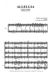 Exsultate, jubilate, K.165: Alleluia, for voices and organ by Wolfgang Amadeus Mozart