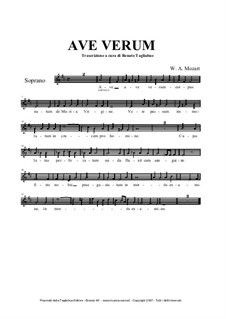 Ave verum corpus, K.618: partes by Wolfgang Amadeus Mozart