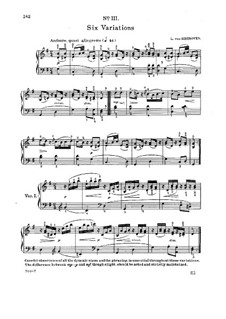 Six Variations on an Original Theme, WoO 77: para piano (com dedilhado) by Ludwig van Beethoven