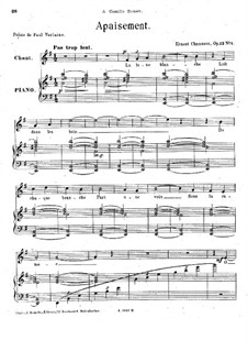 Four Melodies for Voice and Piano, Op.13: Four Melodies for Voice and Piano by Ernest Chausson
