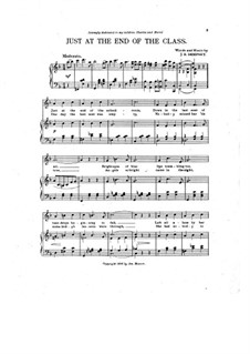 Just at the End of the Class: Partitura Piano-vocal by James E. Dempsey