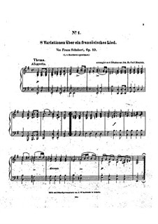 Eight Variations on a French Song, D.624: Para Piano by Franz Schubert