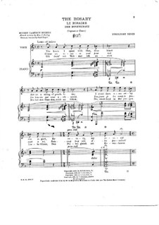 The Rosary (Le chapelet): Score for soprano (or tenor) and piano by Ethelbert Woodbridge Nevin
