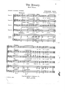 The Rosary (Le chapelet): Score for voices and piano (ad libitum) by Ethelbert Woodbridge Nevin